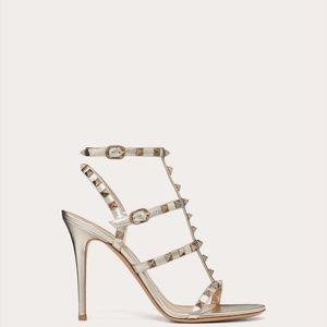 Rockstud Metallic Ankle Strap Sandal 100 mm